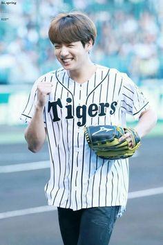 Jungkook ❤ BTS At The Hanshin Tigers vs Nippon Ham Fighters Baseball Game! For the ceremonial first pitch~ (PRESS - Bts Jungkook, Maknae Of Bts, Namjoon, Hoseok, Taehyung, Jungkook Smile, Jung Kook, Jikook, Foto Bts