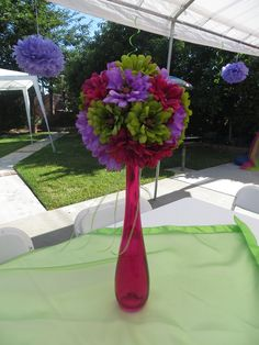 I made these centerpieces for my mom's 60th birthday party