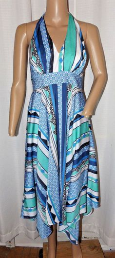 5d68930fd3 VICTORIA S SECRET ASYMMETRICAL HALTER DRESS SIZE 4 MULTI-COLOR EX COND