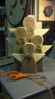 Hand crafted Rustic Wooden Angel Family