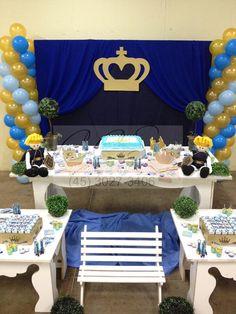Decoração festa menino principe azul dourado ccs decorações e eventos banquinho