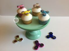 Fidget Spinner Cupcakes with hand made edible topper by Bakedy Cake, Dublin, Ireland