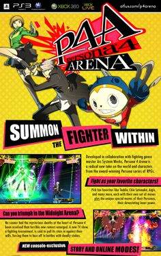 """Persona4 Arena A fighting game based on """"Shin Megami Tensei"""" Persona4."""" Persona4 was awesome,and I am rather looking forward to this!"""