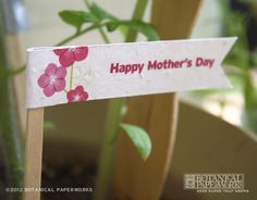 Mother's Day seed paper flag, comes on a free printable sheet! http://goo.gl/0DFLF