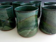 Pottery Tumbler - Yunomi - Cup - Beer Glass - Rainbow - Turquoise - Handmade Stoneware - Ceramic. $16.00, via Etsy.