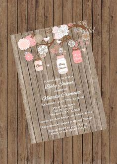 Girl Baby Shower Invitation-Rustic Mason Jar Tree, Pink on Etsy Baby Shower Invites For Girl, Baby Shower Favors, Baby Shower Themes, Baby Boy Shower, Baby Shower Invitations, Baby Shower Gifts, Shower Ideas, Baby Shower Table Centerpieces, Baby Shower Decorations