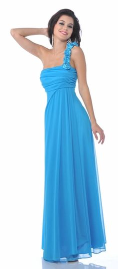 Rosette One Shoulder Flowy Chiffon Turquoise Bridesmaid Dress Long $87.99