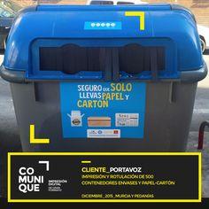 Campaña de promoción para la correcta separación de residuos. Impresión y rotulación de 500 contenedores en la ciudad de Murcia y pedanías