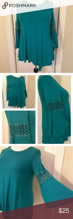 Teal Green Tunic with Bell Sleeves Super soft, stretchy tunic with scoop neckline and an asymetrical hemline. The bell sleeves have a lovely crocheted inset lending a boho vibe. Beautiful and comfy! Tops Tunics
