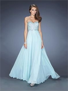 Beautiful Strapless Sweetheart Beadings Chiffon Prom Dress PD11647