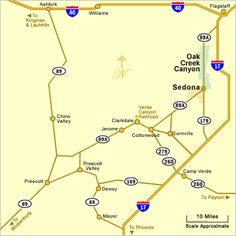 map of verde valley | Map of Sedona, Jerome and Verde Valley