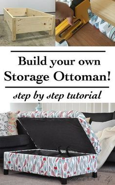 DIY Upholstered Storage Ottoman Make your own DIY upholstered storage ottoman it is super easy! This tutorial shows you how from building the frame to upholstering it. The post DIY Upholstered Storage Ottoman appeared first on Upholstery Ideas. Diy Storage Ottoman, Diy Ottoman, Upholstered Ottoman, Storage Stool, Pallet Ottoman, Stair Storage, Storage Chest, Woodworking Projects Diy, Diy Wood Projects