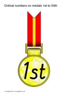 Ordinal numbers on medals to - SparkleBox Free Teaching Resources, Teacher Resources, Sports Day Certificates, Sack Race, Ordinal Numbers, Foundation Stage, Page Borders, Number Recognition, Olympic Sports