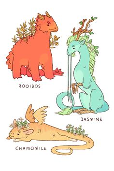 """some common varieties of tea dragon!"" Posted on Tumblr.com by strangelykatie."