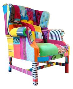 A very funky patchwork chair.