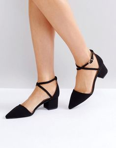 a250077e10c RAID Avia Black Cross Strapped Heeled Shoes - Black Asos