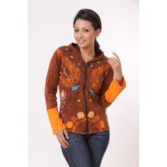 RIB COTTON EMBROIDERY DESIGNED JACKET  This eye catching wholesale bohemian jacket is scattered with dainty twinkling stars and curves shapes that resemble the cosmos. Its flattering shape is created by the fitted sleeves and carefully shaped torso with hand pockets. Choose from two colours –mustard or chocolate.  Unit Price: US$17.76