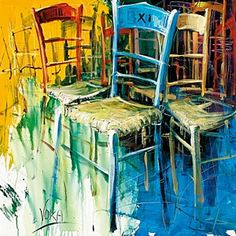 'Colourful Chairs II' by Voka Painting Print Voka Art, Painting Prints, Art Prints, Art For Art Sake, Colorful Paintings, Color Of Life, Art Google, Painting Inspiration, Les Oeuvres