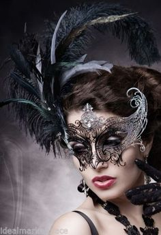 Venetian Black Metal Laser cut Masquerade Ball Mask with Clear Rhinestones Feather Mask, Mask Girl, Carnival Masks, Venetian Masks, Masquerade Party, Masquerade Masks, Masks Art, Beautiful Mask, Mardi Gras
