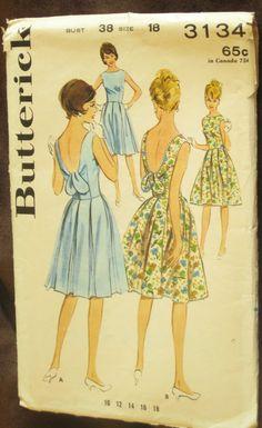 1960s Butterick 3134 Scoop Back Summer Dress Pattern by EmSewCrazy