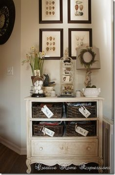 Old dresser with missing drawers is repurposed
