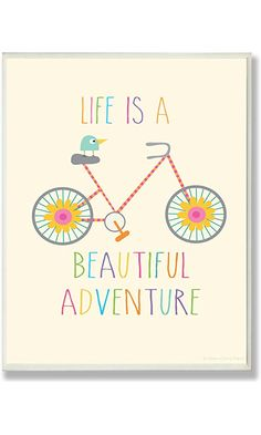 The Kids Room by Stupell Life is a Beautiful Adventure Bird on a Bike Rectangle Wall Plaque Best Price