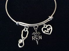 Silver Plated Caduceus RN Registered Nurse with Sterling Silver Plated Crystal Heartbeat and StethescopeCharm securely attached to a Silver Plated Expandable B