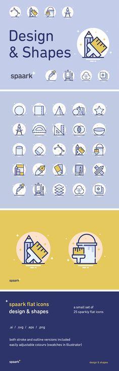25 Design & Shapes Icons #pixelbuddha