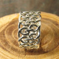 Spiral woven Argentium sterling silver ring.