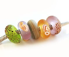 Beachy Large hole handmade lampwork glass beads fits by MayaHoney, $22.50