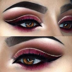 Beautiful Burgundy Eye Makeup for Fall Makeup Looks - Dramatic Eye Makeup - Eye Makeup Wedding Makeup Tips, Natural Wedding Makeup, Natural Eye Makeup, Eye Makeup Tips, Bride Makeup, Makeup For Brown Eyes, Makeup Ideas, Makeup Tutorials, Makeup Geek