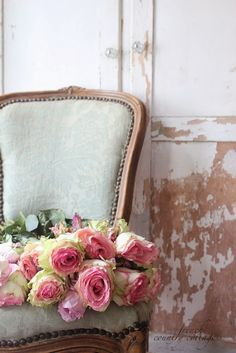FRENCH COUNTRY COTTAGE: French chairs~ junking treasures chair with roses,so pretty