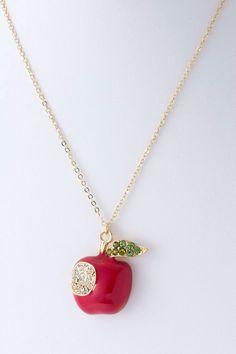 Delish Crystal Apple Pendant | Emma Stine Jewelry Necklaces