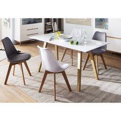 Delicieux Table De Salle à Manger Scandinave Blanc/chêne Amodeo | Matelpro