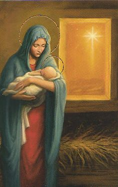 Nativity -- Whenever I see pictures of the Blessed Virgin holding the Baby Jesus or pregnant, I find something I can relate with her. I wish I were a better mom. Blessed Mother Mary, Divine Mother, Blessed Virgin Mary, Catholic Art, Religious Art, Catholic Daily, Mama Mary, Religious Pictures, Joseph
