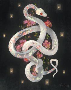 snake art - Full Bloom by Fiona Hsieh Snake Painting, Snake Drawing, Snake Art, Snake Wallpaper, Plant Wallpaper, Cute Snake, Tumblr, Aesthetic Art, Cute Art