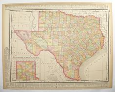 Antique Texas Map Vintage New Orleans Map Lone Star State Map NOLA Map 1896 History Gift for Home Office Wedding Prop Travel Gift Under 50 by OldMapsandPrints