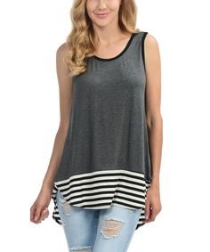 Look what I found on #zulily! Cool Melon made by Goo Yoo Charcoal & Black Stripe-Hem Scoop Neck Tank by Cool Melon made by Goo Yoo #zulilyfinds
