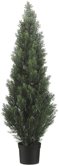 Two 48 Inch Tall Outdoor Artificial Cedar Topiary Tree UV Rated Potted Plant >>> Want additional info? Click on the image.