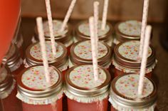 Use cupcake liners to cover mason jar lemonades || Owl Themed Girl's Baby Shower
