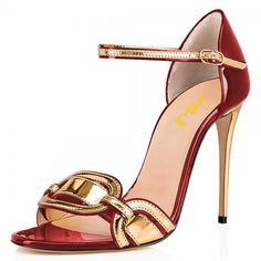 Beautiful, Elegant Burgundy and Gold Open Toe Stiletto Heel Ankle Strap Sandals you best choice for Work, Party -TOP Design by FSJ Ankle Strap Sandals, Ankle Straps, Strappy Sandals, Ankle Boots, High Heels Stilettos, Stiletto Heels, Prom Heels, Shoes Heels, Pencil Heels