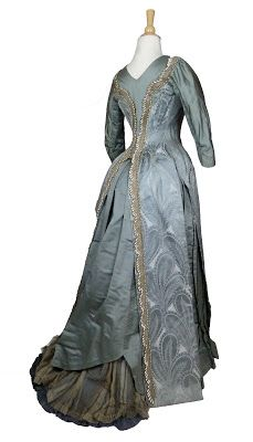 Blue-Grey Emile Pasquier Silk Reception Gown c. 1885, from the Brooklyn Museum of Art