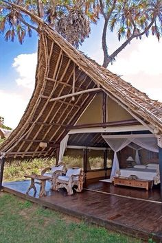 Galdessa Camp - Tsavo East National Park, Kenya a wonderful place to stay! Tent Camping, Glamping, Safari Photo, Bamboo House Design, Hut House, Bamboo Architecture, Beach Bungalows, Tanzania, Places To Go