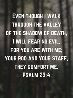 Psalm Even though I walk through the valley of the shadow of death, I will fear no evil, for you are with me; Biblical Quotes, Scripture Quotes, Religious Quotes, Bible Scriptures, Faith Quotes, Spiritual Quotes, Psalm 23, Psalm 91 Prayer, Spiritual Encouragement