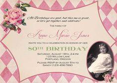Adult Birthday Invitation. Photo Birthday invitation. Graduation. Vintage Tea party. Vintage Linen Burlap Rustic Country Roses. Printable.