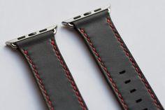 Apple watch strap in Venetian grey / bright red stitching Ronald Wayne, Apple Watch Leather Strap, Steve Wozniak, Apple Inc, Watch Straps, Venetian, Stitching, Bright, Watches