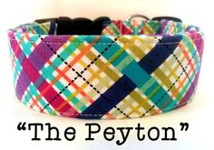 MultiColor Plaid Dog Collar The Peyton by PuddleJumperPups on Etsy, $17.50