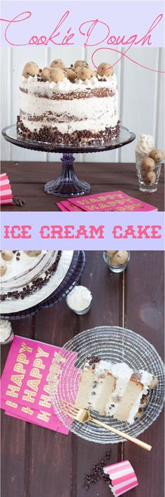 Cookie Dough Ice Cream Cake - Learn how to assemble the perfect ice cream cake at home, and customize it with an edible cookie dough recipe. * GoodieGodmother.com