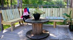 Out door bench plan built into a corner of a green treated deck wood working tips and tutorials how to diy do it yourself backyard outdoor project Diy Furniture Projects, Diy Wood Projects, Outdoor Projects, Woodworking Projects, Outdoor Decor, Outdoor Furniture, House Projects, Outdoor Rooms, Outdoor Ideas