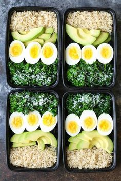 Avocado and Egg Breakfast Meal Prep - Jump start your mornings with the healthiest, filling breakfast ever! Loaded with brown rice, avocado, eggs and kale. healthy food Avocado and Egg Breakfast Meal Prep Lunch Recipes, Diet Recipes, Breakfast Recipes, Vegetarian Recipes, Cooking Recipes, Avocado Breakfast, Breakfast Healthy, Breakfast Bowls, Boiled Egg Breakfast Ideas